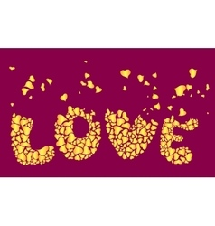 Inscription love of heart shapes vector