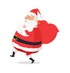 isolated side view santa claus on white background vector image