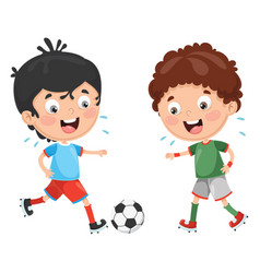 kid playing football vector image