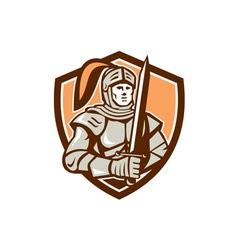 Knight Full Armor With Sword Shield Retro vector image