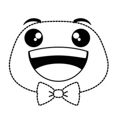 laugh emoji face with bowntie vector image