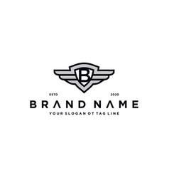 Letter b shield wing logo design concept vector