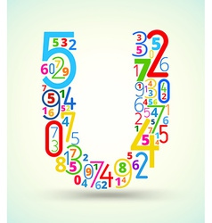 Letter U colored font from numbers vector