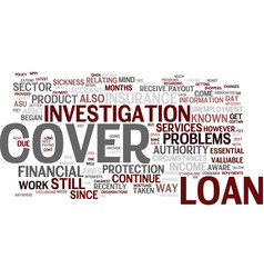 Loan cover still associated with problems text vector