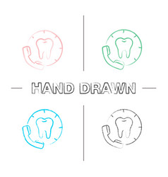 Making appointment with dentist hand drawn icons vector