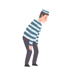 male prisoner in striped clothing man playing vector image