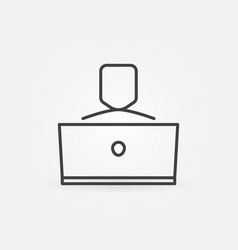 Man working on laptop linear concept icon vector
