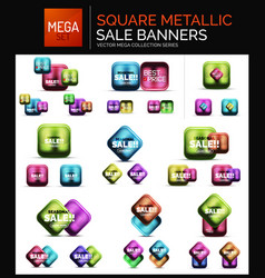 mega set of square metallic sale buttons banners vector image