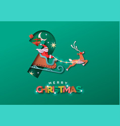 merry christmas papercut santa claus sled card vector image