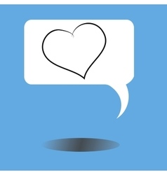 Message icon with heart and shadow vector
