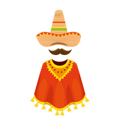 Mexican poncho with hat and mustache vector