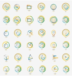 Minimal thin line design web icon set stamps vector image