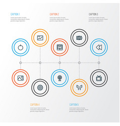 Music outline icons set collection headphone vector