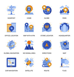 Navigation system icons set in flat style vector