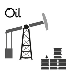 Oil production and oil well and barrels symbol vector