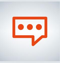 orange speech bubble icon flat design isolated on vector image