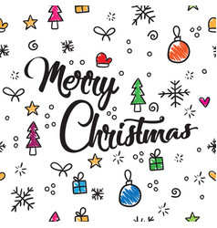 pattern merry christmas new year and christmas vector image
