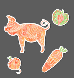 Patterned mosaic pig and veg made as stickers vector