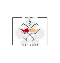 red and white wine logo wine glass on white vector image