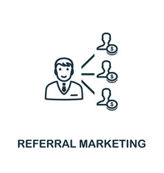 Referral marketing icon outline style thin line vector