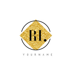ri letter logo with golden foil texture vector image