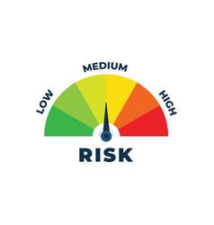 Risk icon on speedometer medium risk meter vector
