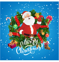 santa claus with bell in christmas wreath frame vector image