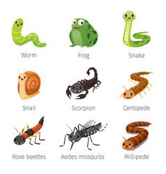Set of animals in rainy season vector