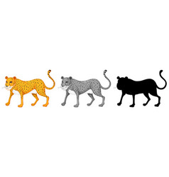 set of cheetah character vector image