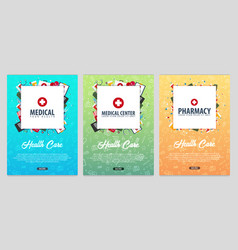 set of medical posters health care vector image