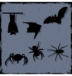 Set of spiders and bats vector