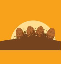 Silhouette of easter egg landscape vector