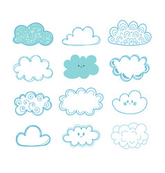 sketch sky doodle collection of hand drawn clouds vector image