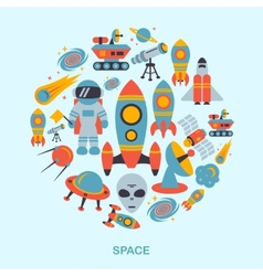 Space icons flat vector image vector image