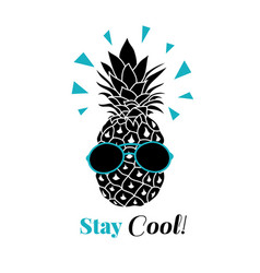 Stay cool pineapple wearing colorful vector