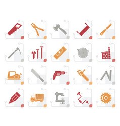 stylized carpentry logging and woodworking icons vector image