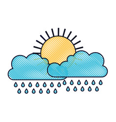 Sun and cloud with rain in colored crayon vector