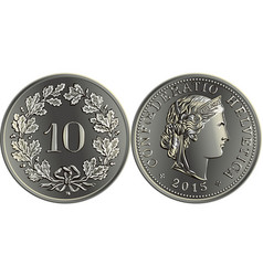 Swiss money 10 centimes silver coin vector