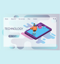 tablet computer smartphone in form puzzle vector image
