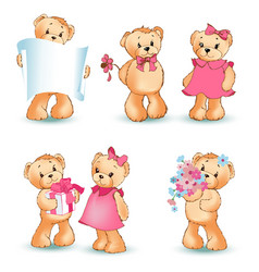 teddy bears set valentine vector image