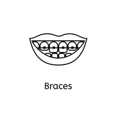 Teeth braces line icon isolated on white vector