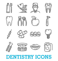Thin line icons of dentistry medicine vector