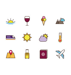 Tourism vacations travel related icons set vector