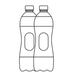 Two bottles of water icon outline style vector image