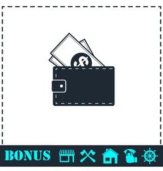 Wallet icon flat vector