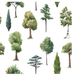 Watercolor tree seamless pattern forest oak vector