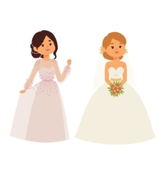 Wedding bride girl character vector