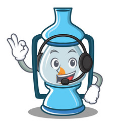 With headphone lantern character cartoon style vector