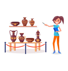 Woman guide points on ancient greek pottery vector