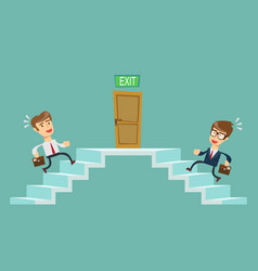 Young people climbs the stairs vector